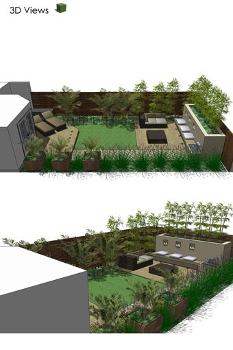 Modern courtyard garden in Twickenham, London with an angled end to the lawn adding sense of energy.
