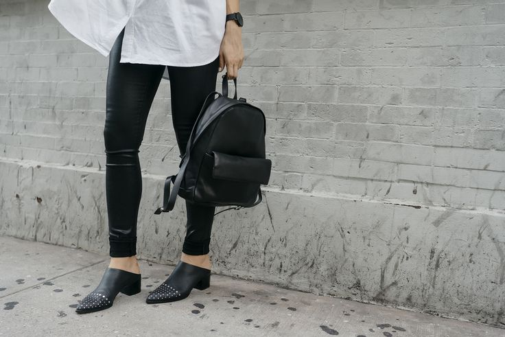 Skagen black backpack, Citizens of Humanity Wax coated jeans, Senso studded shoes