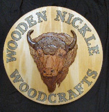 Buffalo head was hand carved, sign was wood burned and painted.: Buffalo Head