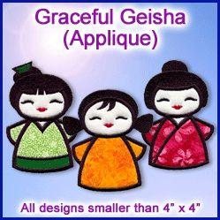 A Graceful Geisha (Applique) Design Pack