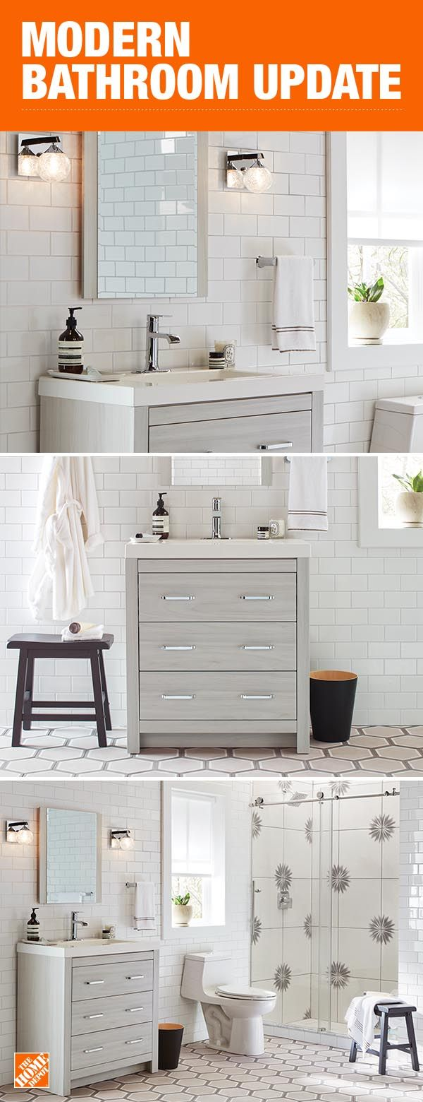 Create A Light And Bright Bathroom Design With Clean Modern Lines And Gray Woodgrain Of The
