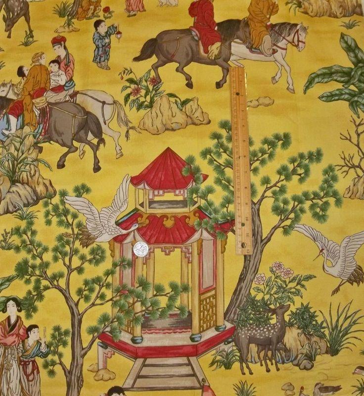 Designer Chinoiserie Asian Toile Fabric 10 Yards Goldenrod