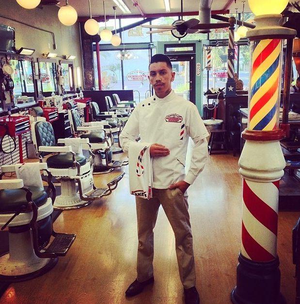 Custom barber smock for CJ from American Barbershop @sartorandvillain #barber #sartorandvillain