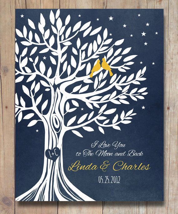 """Personalized Engagement gift, Anniversary Gift for Couples, Wedding Gift, I Love You To The Moon & Back Poster Art Print 8'5 x 11"""""""