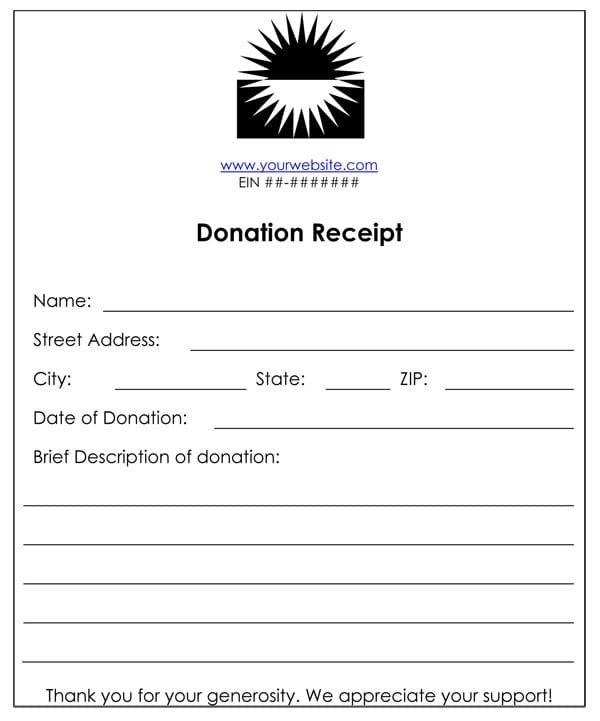 Cash Or Funds Donation Receipt Template 1577 Receipt