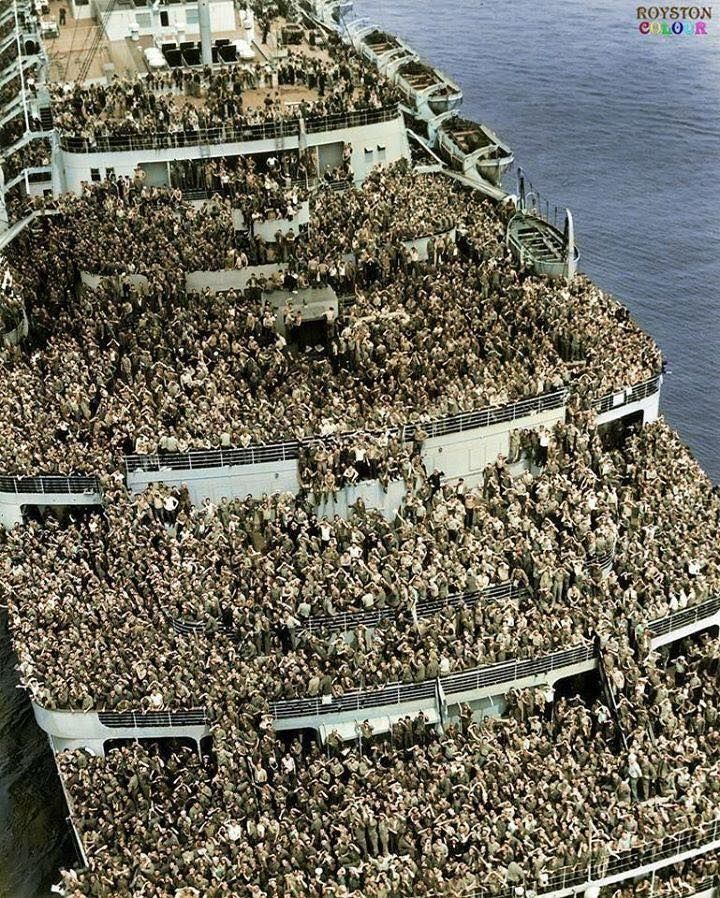 US troops on the Queen Elizabeth transatlantic, returning to New York Harbor at the end of World War II.
