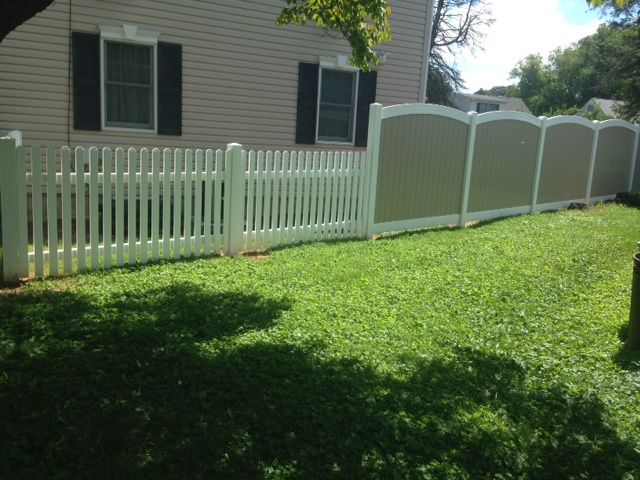 White Vinyl Picket Fence Along With An Arch Top 2 Tone