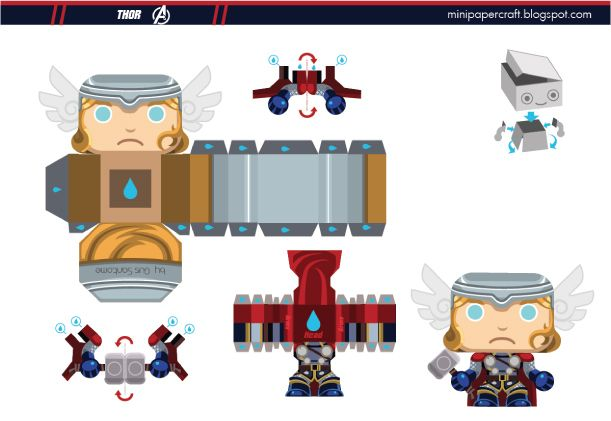 Blog Paper Toy papertoy THOR template preview Mini papercraft Thor by Gus Santome