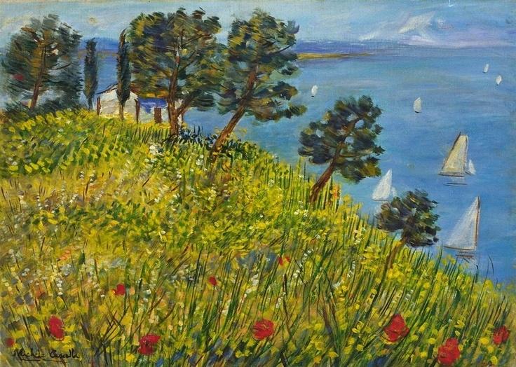 Michele Cascella (1892-1989), Ginestre in riva al mare