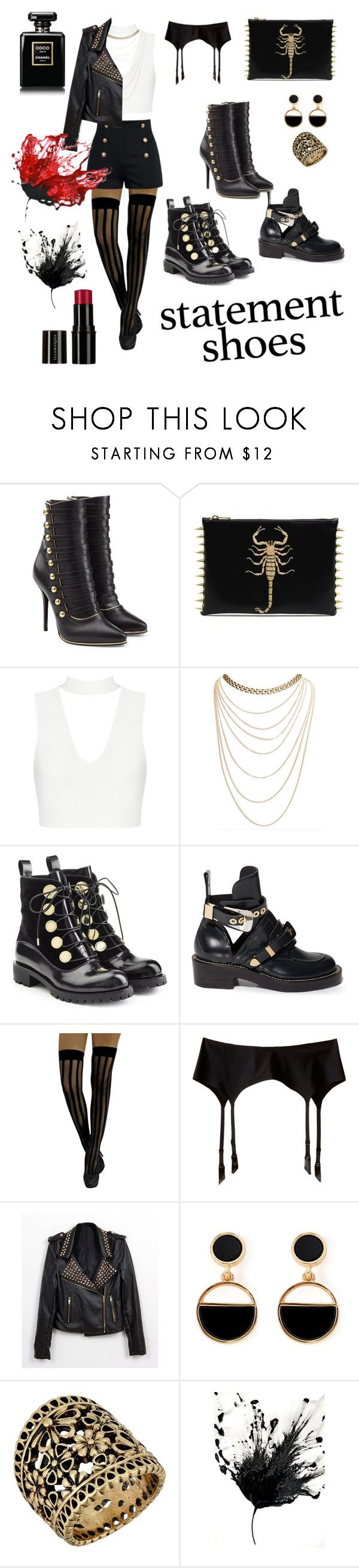 """""""statement shoes"""" by olga-horohonova ❤ liked on Polyvore featuring Balmain, Wet Seal, Alexander McQueen, Balenciaga, Wolford, Warehouse and Lucky Brand"""