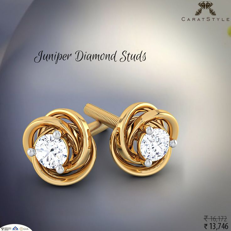 Single Stone Diamond Earrings At Affordable Price A Simple And Cheerful Represent Design Of Juniper Studs Purity In Gold