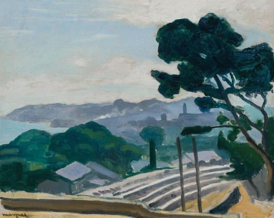 Albert Marquet (French, 1875-1947), Le Chemin de fer à l'Estaque [The railway at L'Estaque], 1918. Oil on canvas, 12 ½ x 16 in.