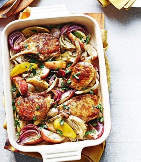 Légumes et fruits rôtis au four, sauce cidre et moutarde de Papilles & Pupilles