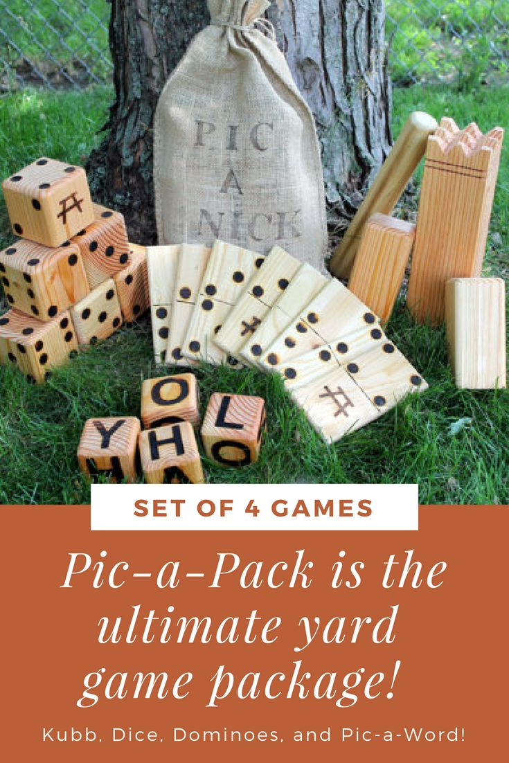 The ultimate backyard game set! It comes with dice for yahtzee or farkle, dominoes, kubb, and letter dice for scrabble! - backyard - games - wedding games - family reunion games -  pick nick games - family fun
