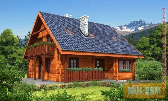 Domy kanadyjskie pod klucz - dom drewniany, kanadyjski, szkieletowy z poddaszem uzytkowym. Projekt L-59