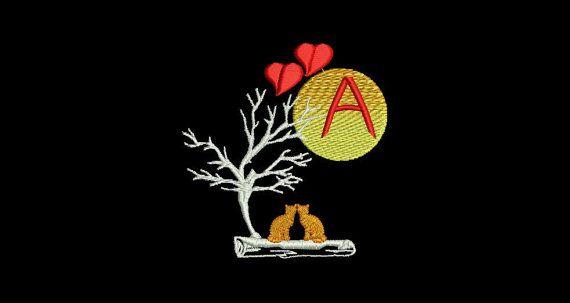 Monogramm A von Alphabet A - Z Verliebte Katzen in der Nacht mit Mond  Katzenbilder für Kinderbekleidung, Wandbehänge, Geschenkartikel, etc. Der