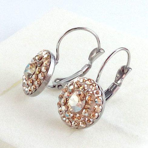 14mm Swarovski Golden Shadow Steel lever back earrings - Surgical Steel Jewelry - french clip by SteelJewelryShop on Etsy