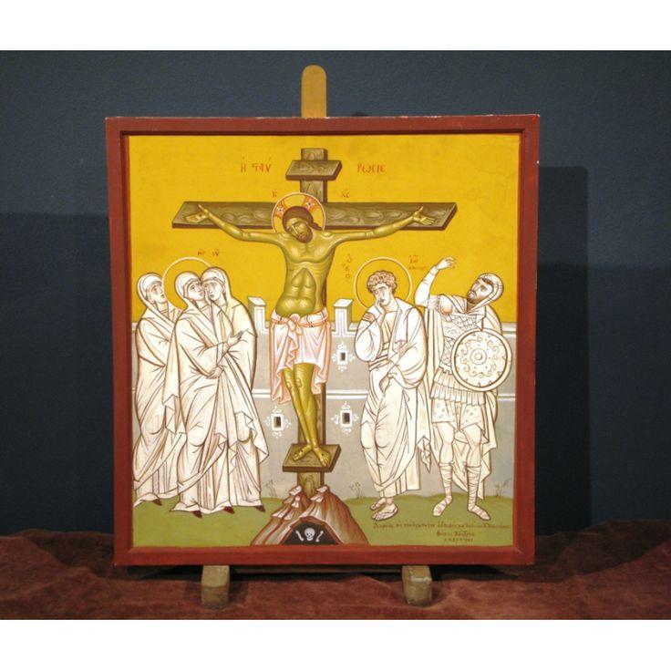 "Fotis Kondoglou  (1895-1965). ""Crucifixion"", 1961 Tempera on hardboard. Signed and dated.  Dimensions: 56X53 cm."
