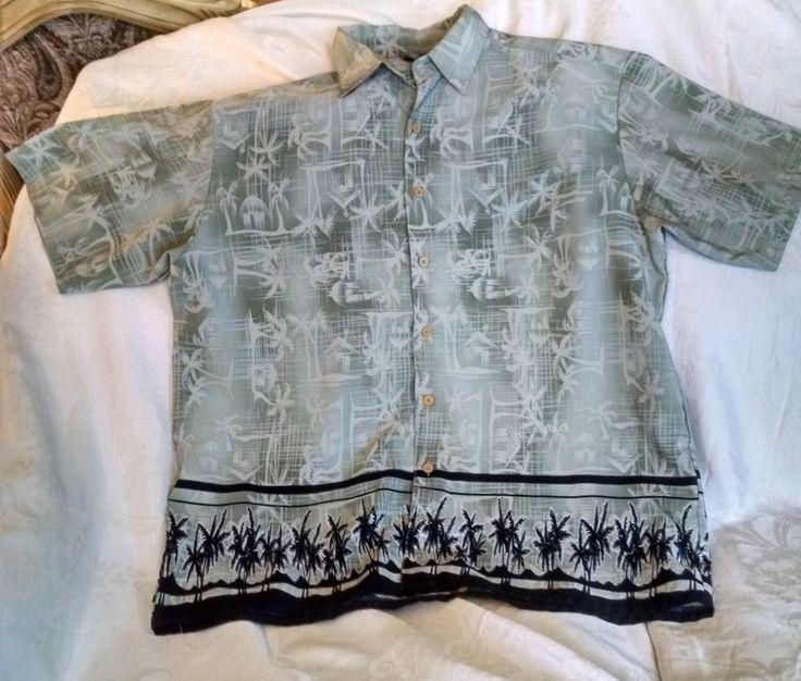 Vintage Mens Extreme Gear Hawaiian Shirt, Mens Size XL, Mens Clothing, Hawaiian Shirts, Palm Trees, Button Down, Grey, Black, Extreme Gear by Vintagepetalpushers on Etsy