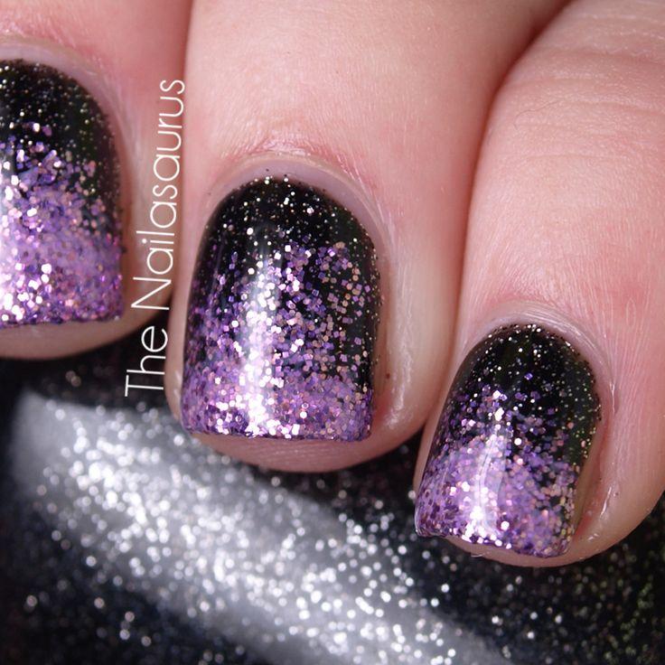 Easy nail designs. Purple Glitter NailsBlack ... - Best 25+ Black And Purple Nails Ideas On Pinterest Nail Shops
