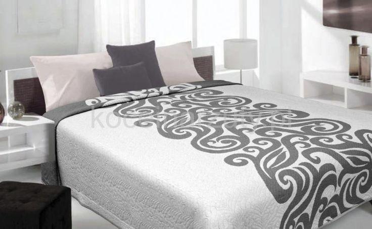 Narzuty dwustronne na łóżko w kolorze jasno szarym