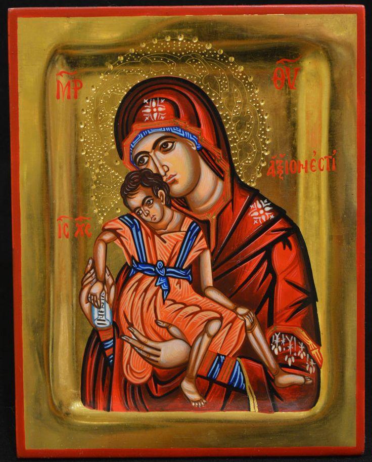 Orthodox Icon Greek Byzantine Handpainted 24k GOLD Virgin Mary Sweet Kisses