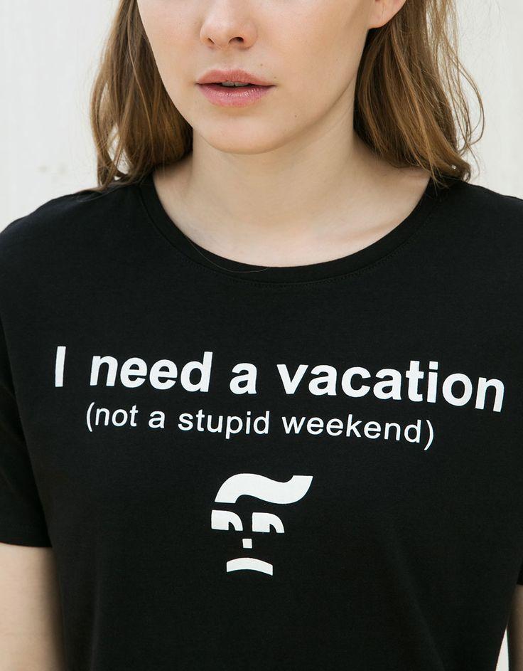 Camiseta texto Today/Vacation - Estampadas - Bershka España