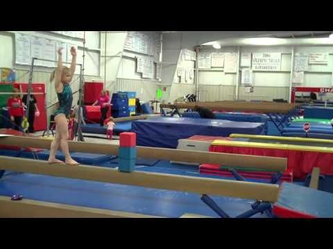 Conditioning warm-up, leap series, HS FR, back roll floor, leaps on beam stations, jumps stations, good lever HS drill beam, glide swing station, shoot through drill, FHC drill good