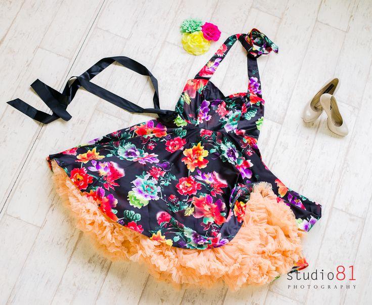 Satin Halter Floral Dress (Size XL), Peach Petticoat, Mint, Pink and Yellow Flower Hairclips, Tan Patent Heels, Black Ribbon Sash