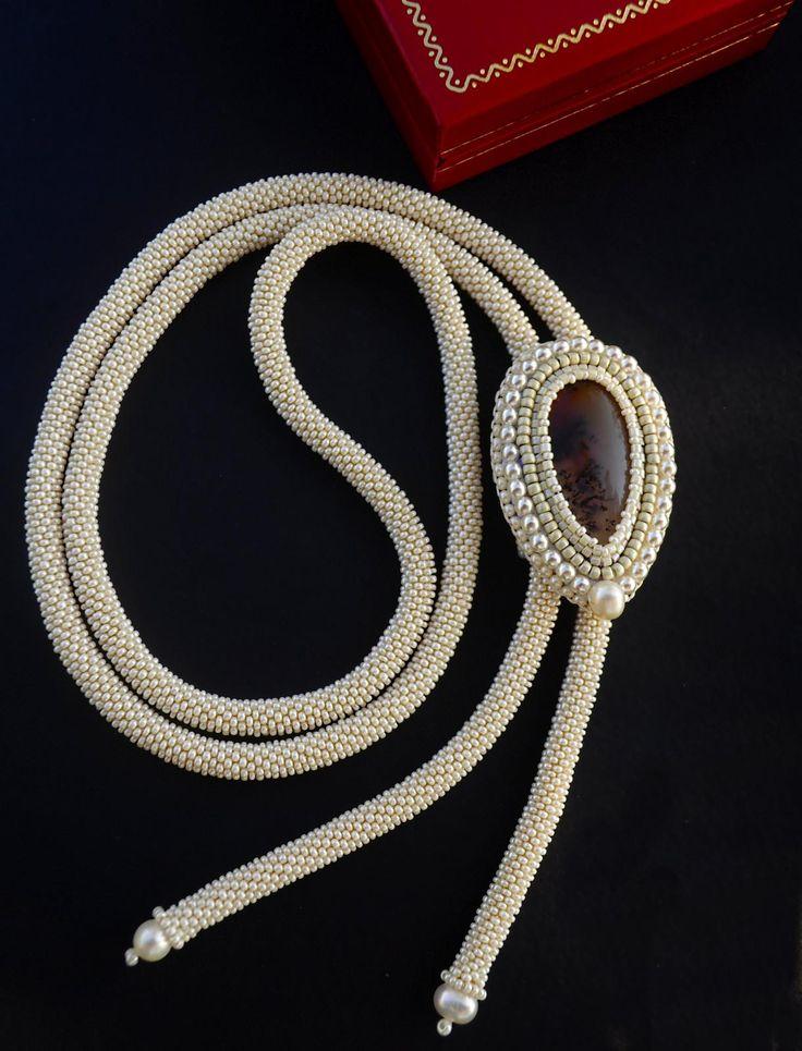 """""""Нереида"""" галстук-боло   biser.info - всё о бисере и бисерном творчестве"""