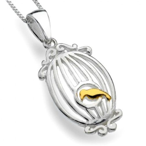 Sterling Silver Jewellery UK: Ornate Sterling Silver and Gold Birdcage Pendant