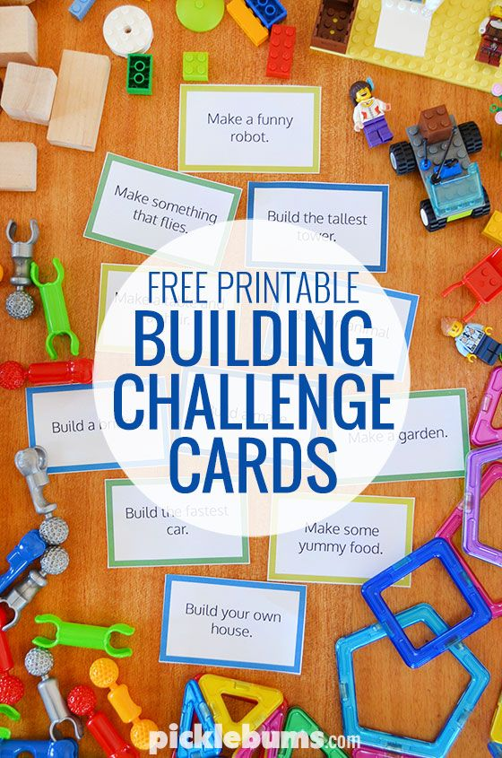 Free printable building challenge cards - great for Legos and all kinds of construction toys