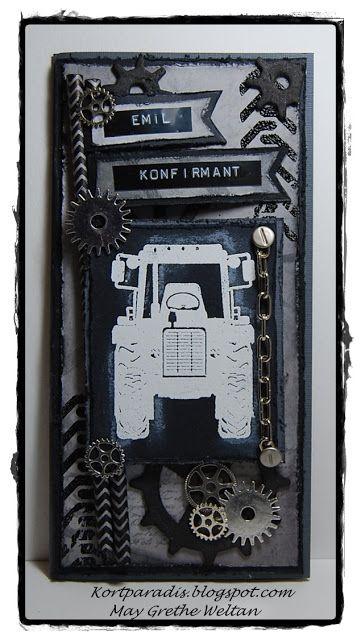 Scrappe NorthStarStamps NorthStarDesign Kort Card Konfirmasjonkort Korthobby Metall Charms Gear Gears Tannhjul Konfirmasjon Traktor Gutt Tannhjul Kort