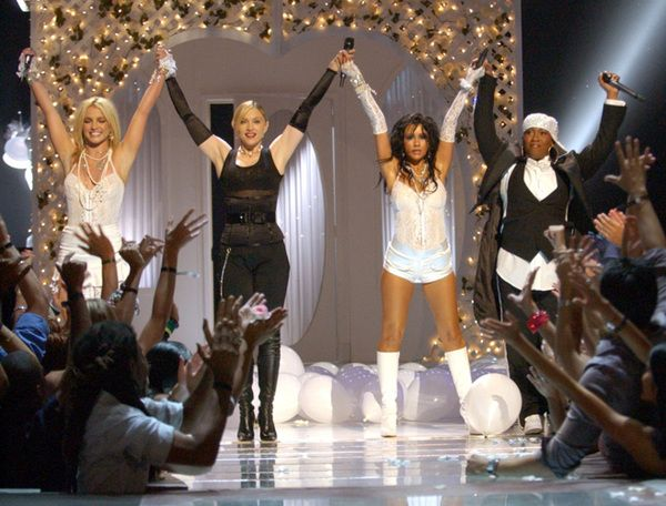 On this day: August 29: Madonna performs  Hollywood with Britney Spears, Christina Aguilera and Missy Elliott at the MTV VMA :: MadonnaGlam