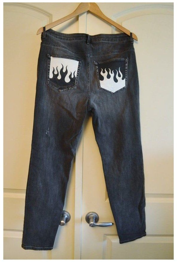 Hand Painted Customized Denim Jeans Painted Black Jeans Painted Clothes Diy Denim Diy Custom Clothes