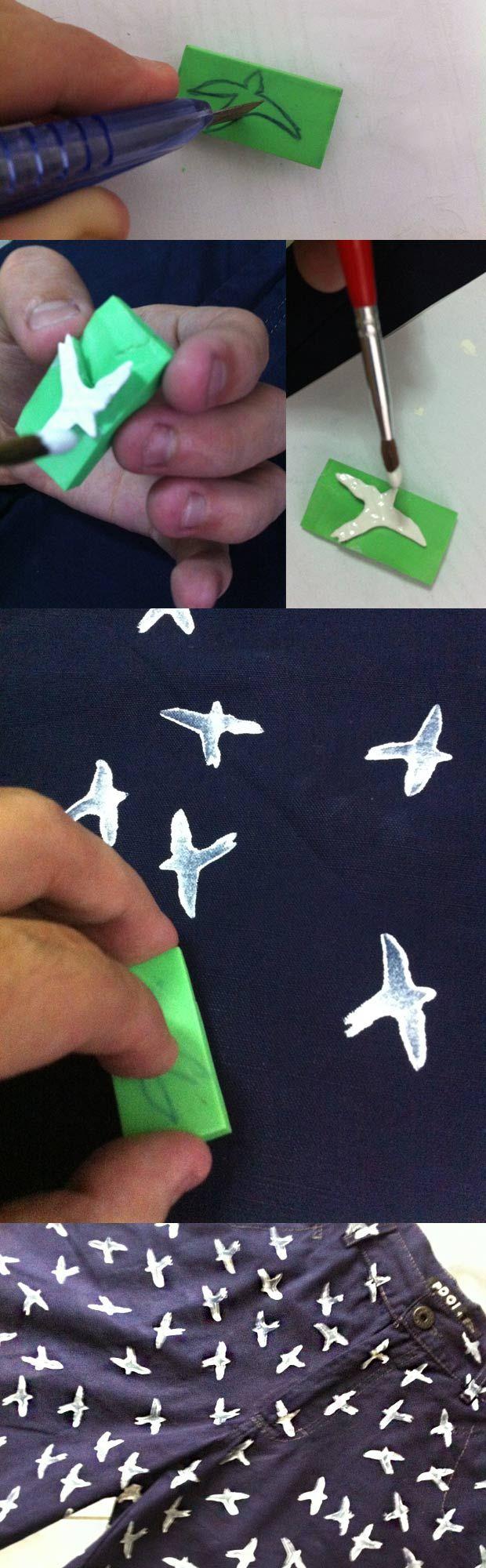 DIY: Customização de bermuda com andorinhas