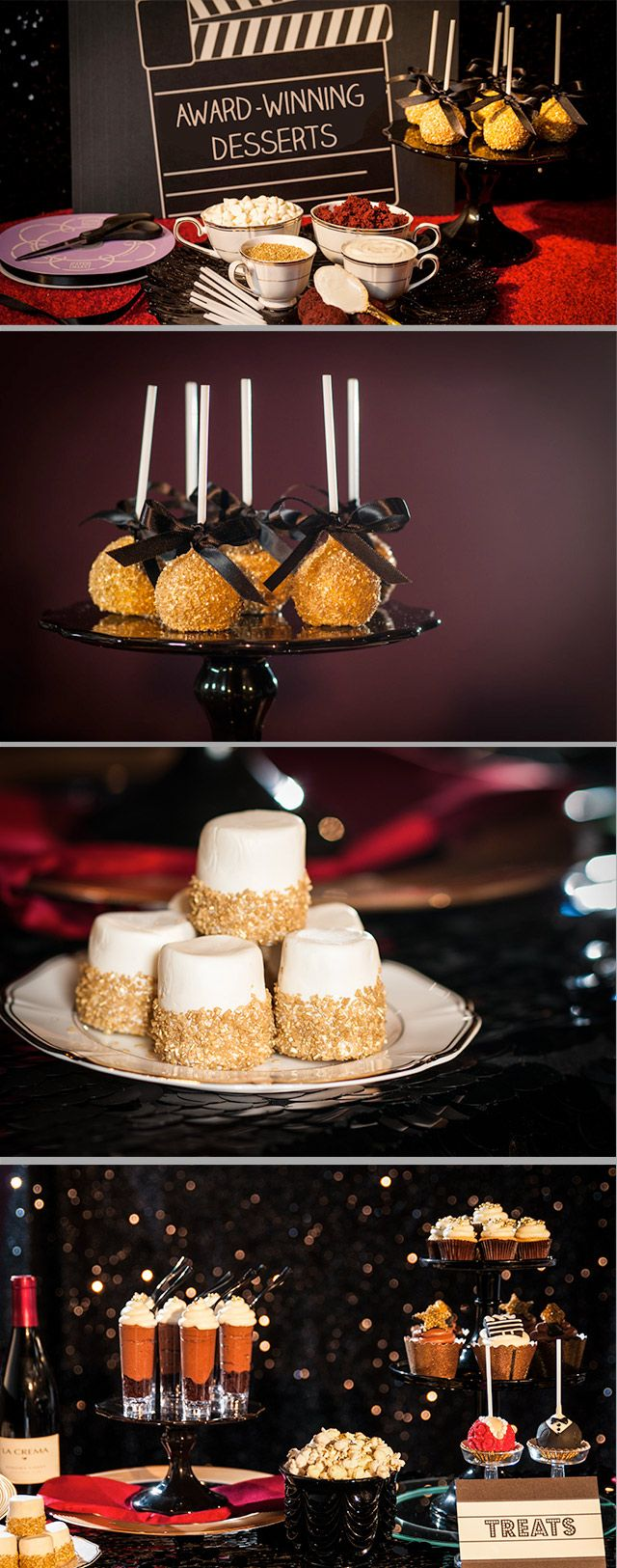 Looking for a dessert idea worthy of a Hollywood award show?  From Golden Cake Pops to blinged-up popcorn we have the ultimate guide to creating a snack bar the Academy would be proud of.
