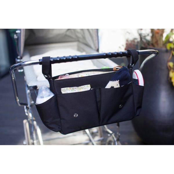 Universal Pram or Stroller Organiser from Storksak in Black. The best organiser there is! It is almost like a whole baby bag! - baby luno Australia