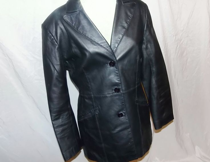 Vintage Ladies Black Leather Jacket, Newport News, Size 12, Dressy Ladies Leather Coat, Excellent Condition, Lady Biker Leather Fashion by Renewed4UBoutique on Etsy