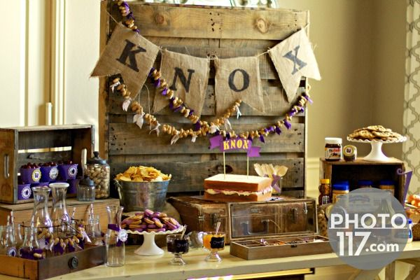 Adorable Peanut Butter and Jelly Party; love the peanut garland!
