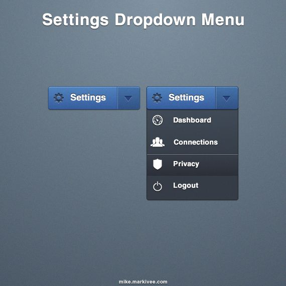 "Settings dropdown. Of note is the slight color separation between ""Settings"" & the dropdown arrow"