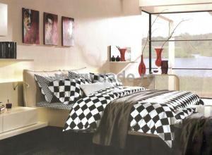 Lenjerie de pat Bumbac in carouri Black & White, 2 persoane