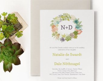 Succulent Printable Wedding Invitation Template | Rustic, Floral Wreath