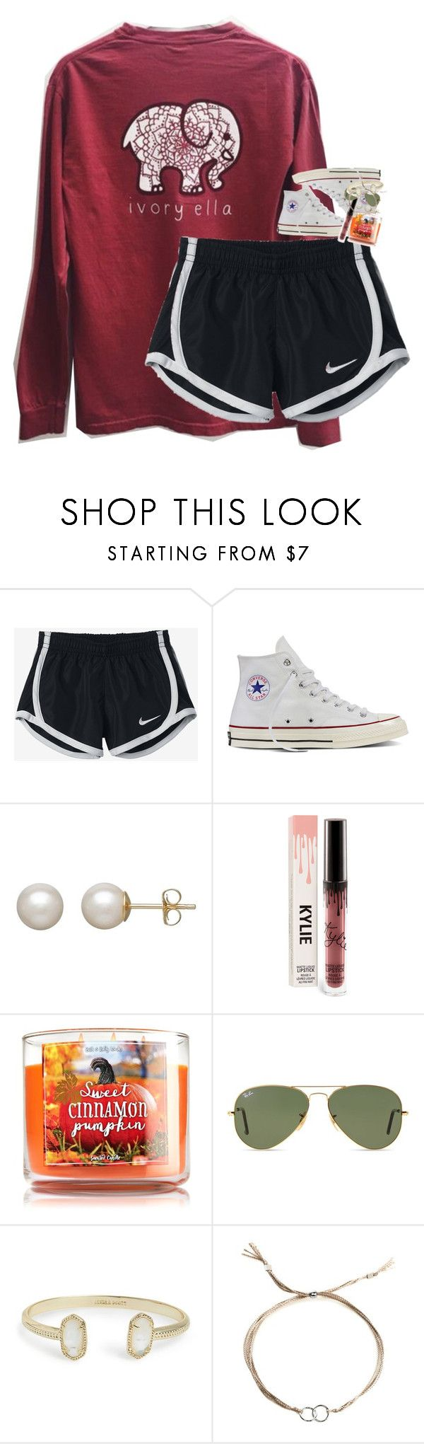 """what do you see your future career being?"" by classynsouthern ❤ liked on Polyvore featuring NIKE, Converse, Honora, Ray-Ban, Kendra Scott and Dogeared"
