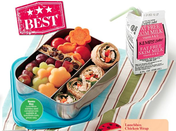 Love this Trio #bento from Healthy Cooking Magazine: fruit, veggies, ants on a log, and chicken wraps.
