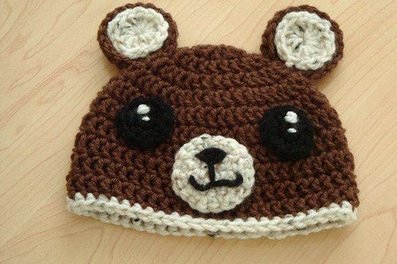 Teddy bear crochet beanie  baby 3 to 6 month size by MisoPretty, $15.00