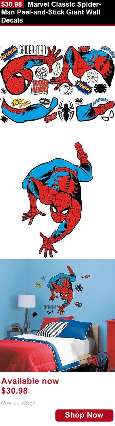 Other Nursery Wall Decor: Marvel Classic Spider-Man Peel-And-Stick Giant Wall Decals BUY IT NOW ONLY: $30.98