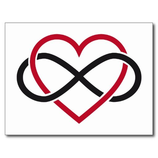 Infinity heart, never ending love post card
