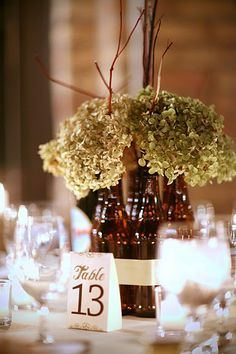 beer bottles and ribbon centerpieces - Google Search