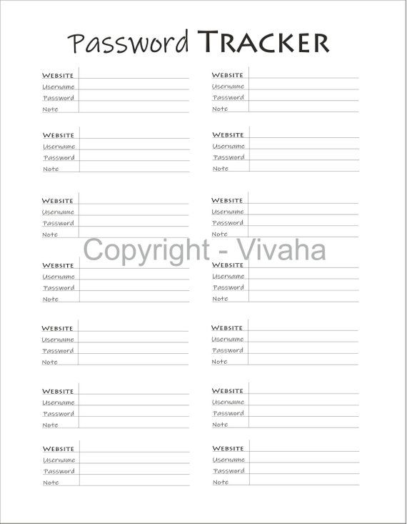 picture regarding Password Keeper Printable identified as Pword Tracker Printable, Pword Tracker PDF Printable